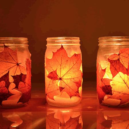 manualidades otoño velas